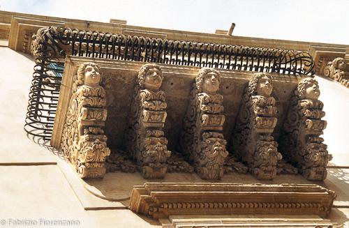 Sicilian baroque.Palazzo Nicolaci balcony Noto